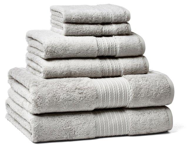 6-Pc Kassasoft Towel Set, Steel