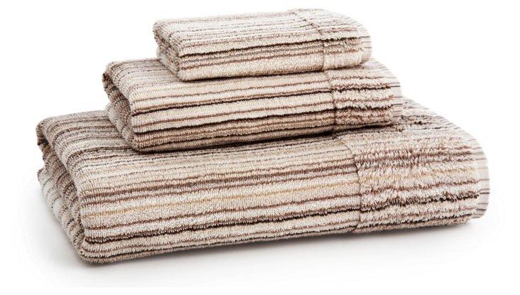 3-Pc Monaco Towel Set, Almond