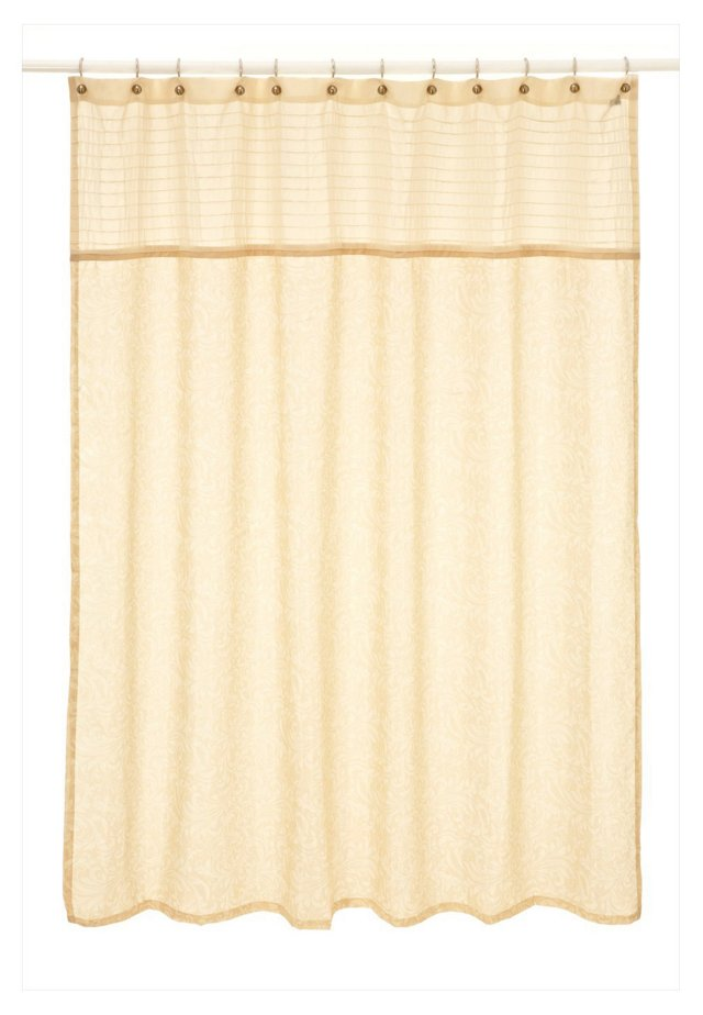 Bedminster Scroll Shower Curtain, Crème Brulee