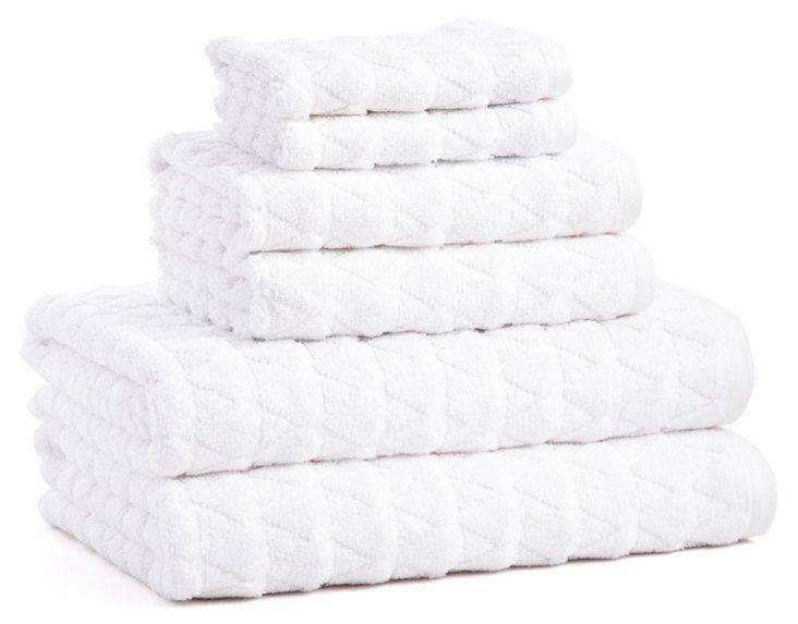 Bristol Collection 6 pc Towel Set, White