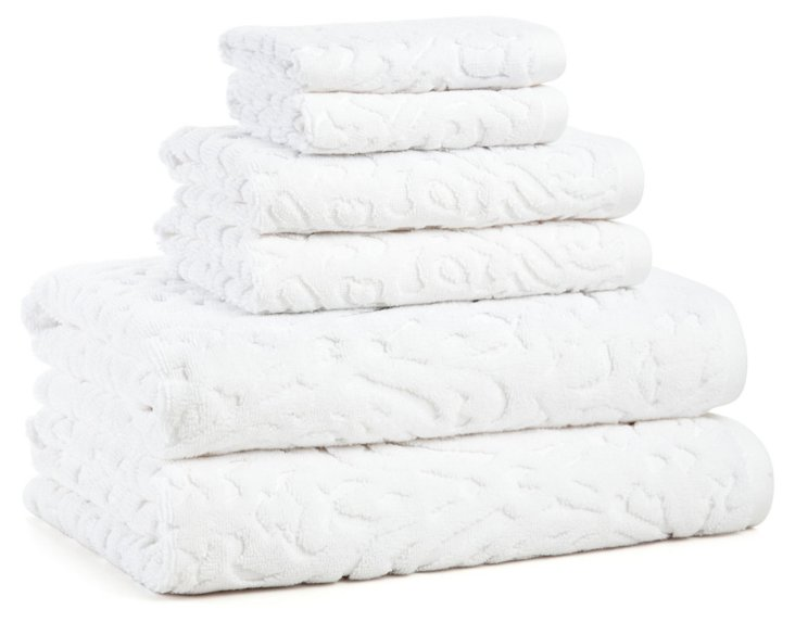 6-Pc Firenze Towel Set, White