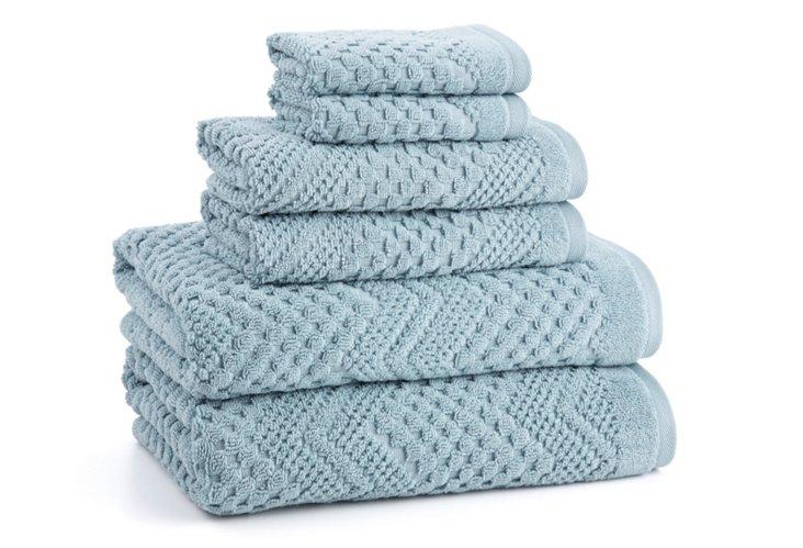 6-Pc Chateau Towel Set, Cameo Blue