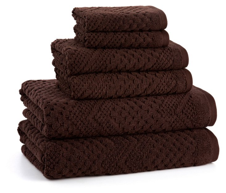 6-Pc Chateau Towel Set, Chocolate