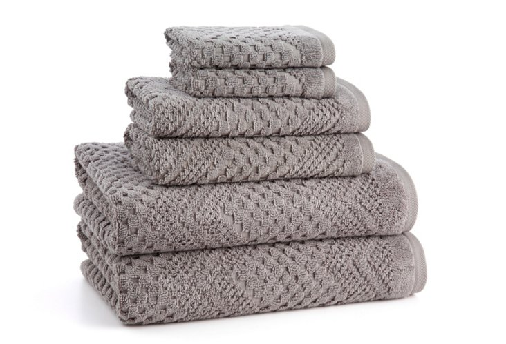 6-Pc Chateau Towel Set, Sterling Gray