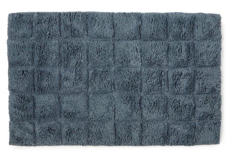 Parc East Bricks Bath Rug, Slate Blue
