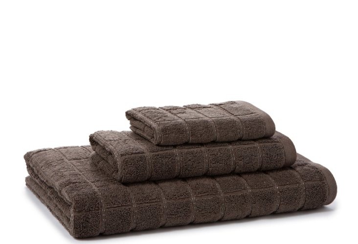 3-Pc Parc East Bricks Towel Set, Mocha