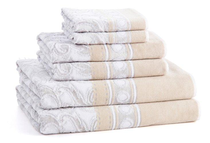 6-Pc Medici Towel Set, Silver
