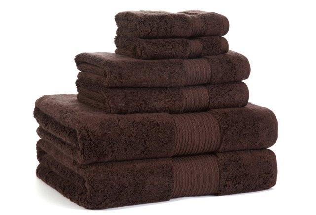 6-Pc KassaSoft Towel Set, Chocolate