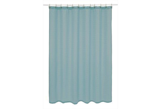 Parc East Bricks Shower Curtain, Blue