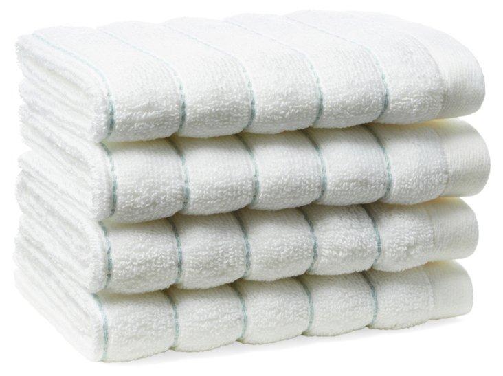 S/4 Mar-A-Lago Towel Washcloths, Blue