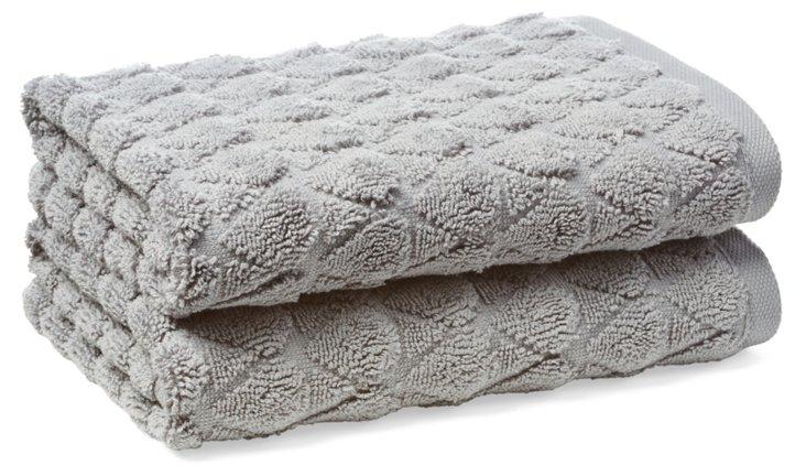 S/2 Bristol Hand Towels, Anthracite