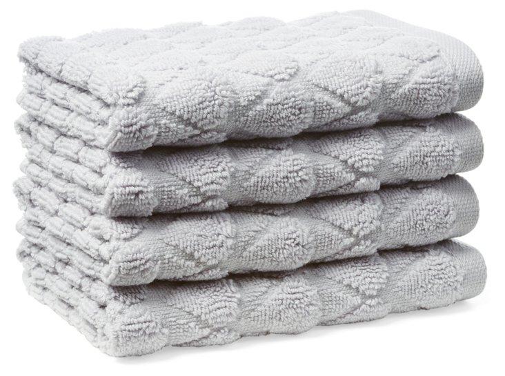 S/4 Bristol Washcloths, Lilac