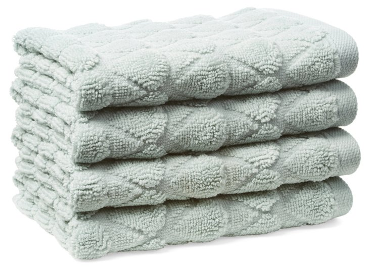 S/4 Bristol Washcloths, Ocean Blue