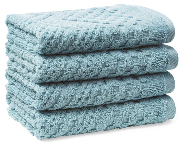 S/4 Chateau Washcloths, Cameo Blue