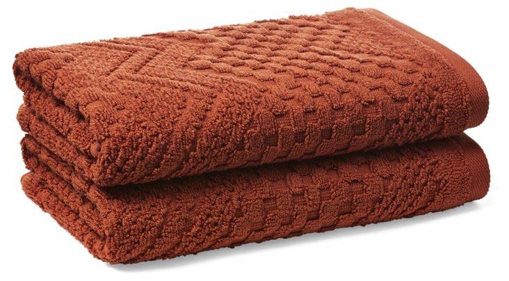 S/2 Chateau Hand Towels, Terracotta