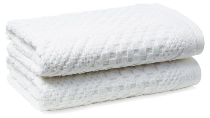 S/2 Chateau Hand Towels, White