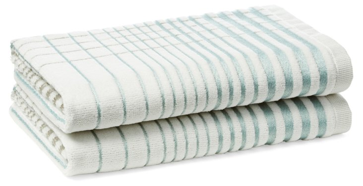 S/2 Crosby Hand Towels, Surf Blue