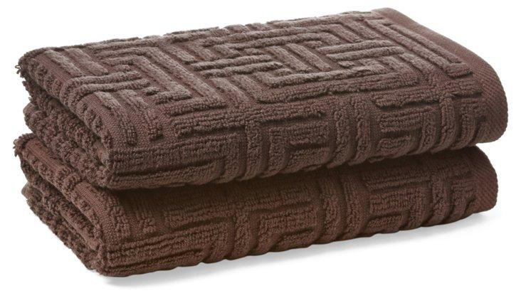 S/2 Vegas Geo Hand Towels, Chocolate