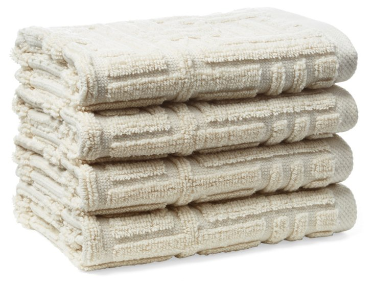 S/4 Vegas Geo Washcloths, Latte