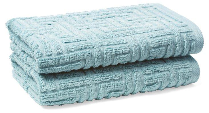S/2 Vegas Geo Hand Towels, Spa