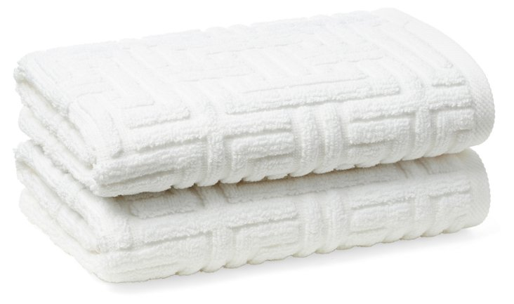 S/2 Vegas Geo Hand Towels, White