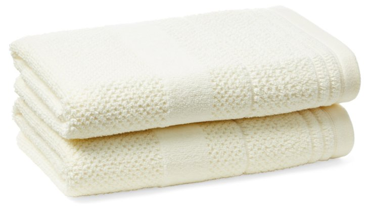 S/2 Textures Hand Towels, Off-White