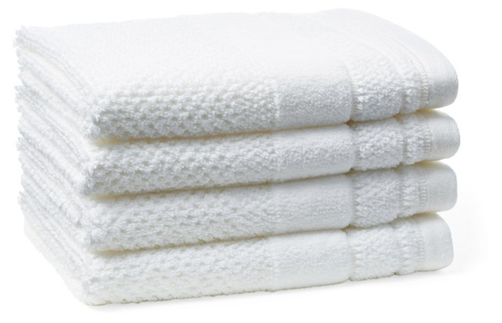 S/4 Textures Washcloths, White