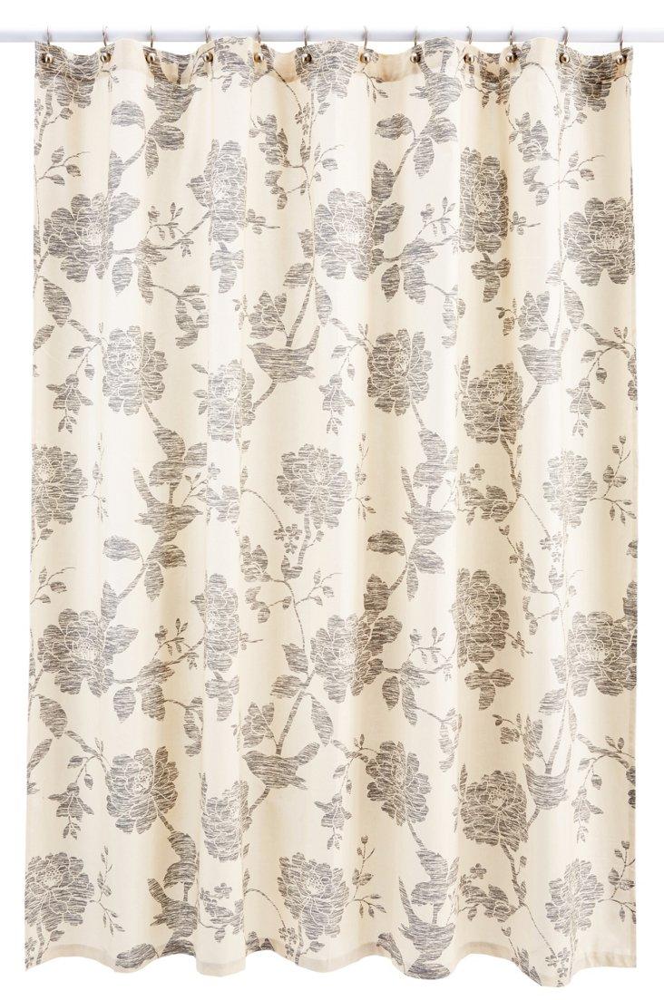 Cortina Bliss Shower Curtain, Beige/Gray