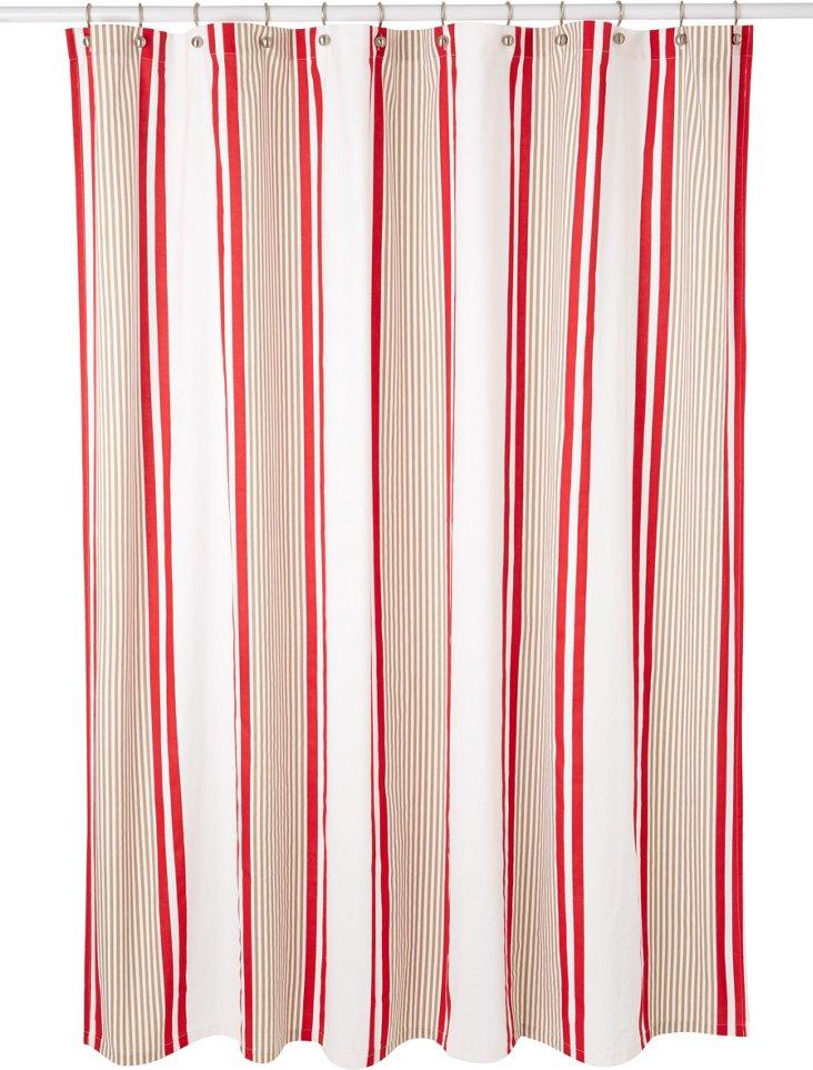 Marina Stripe Shower Curtain, Red