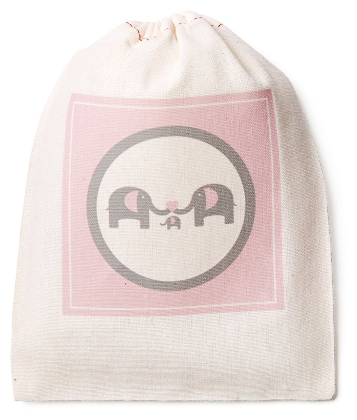 Set/6 Elephant Favor Bags, Pink