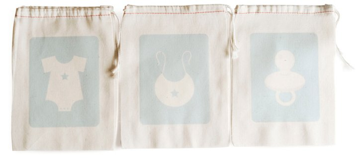 S/6 Baby Favor Bags, Blue