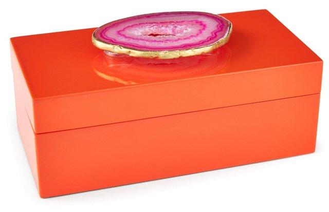 Medium Orange Lacquer Box w/ Pink Agate