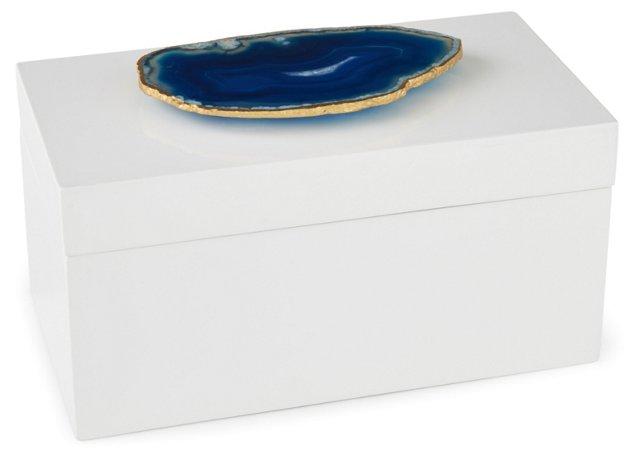Large White Lacquer Box w/ Blue Agate