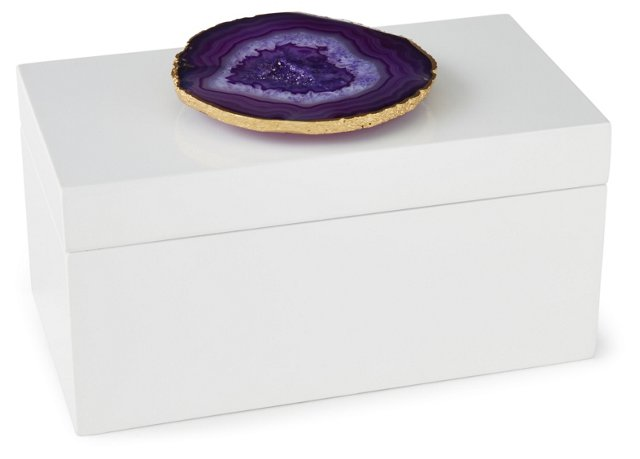 Large White Lacquer Box w/ Purple Agate