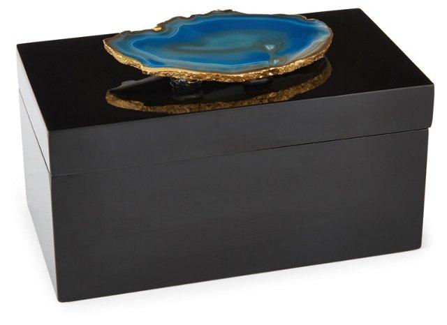Large Black Lacquer Box w/ Blue Agate