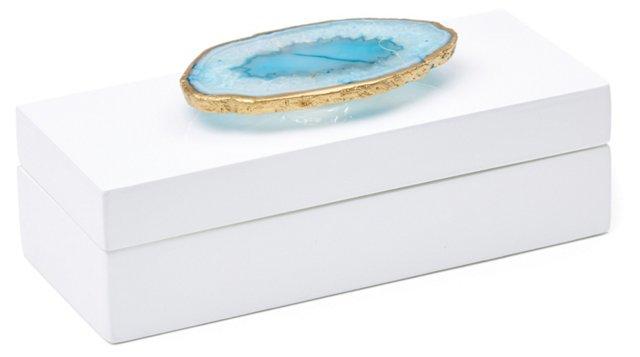 Small White Lacquer Box w/ Blue Agate