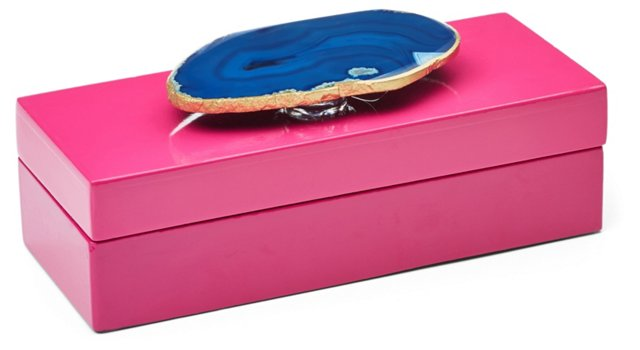 Small Pink Lacquer Box w/ Blue Agate