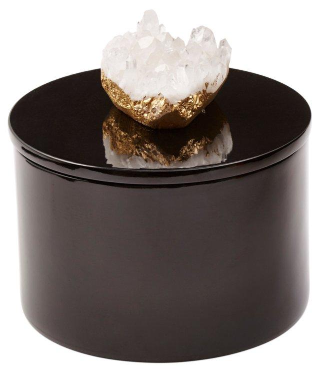 Round Black Box w/ Himalayan Crystal