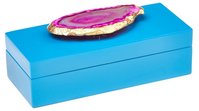 Small Blue Lacquer Box w/ Pink Agate