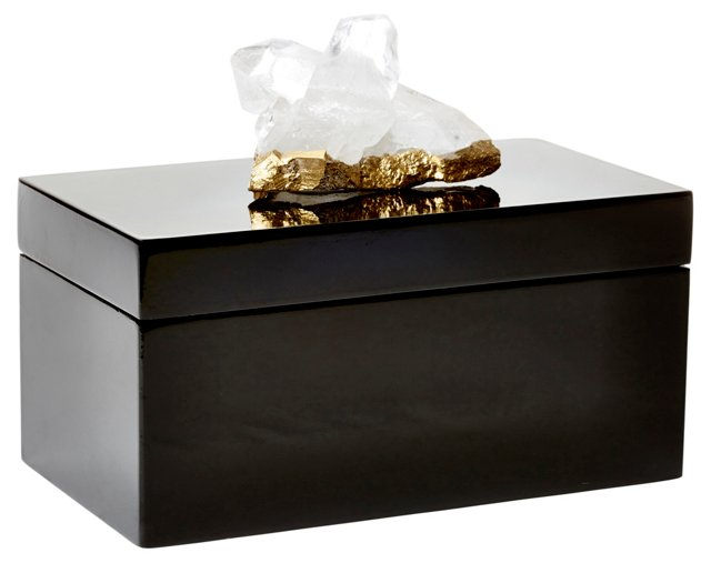 Large Black Lacquer Box w/ Quartz