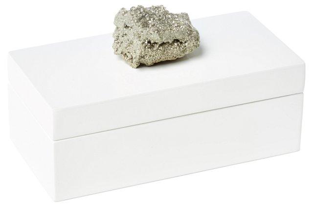 Medium White Lacquer Box w/ Pocado
