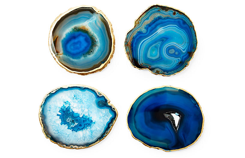 S/4 Gold-Rimmed Agate Coasters, Blue