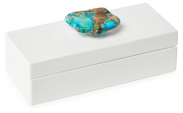 Small White Box w/ Turquoise Jasper