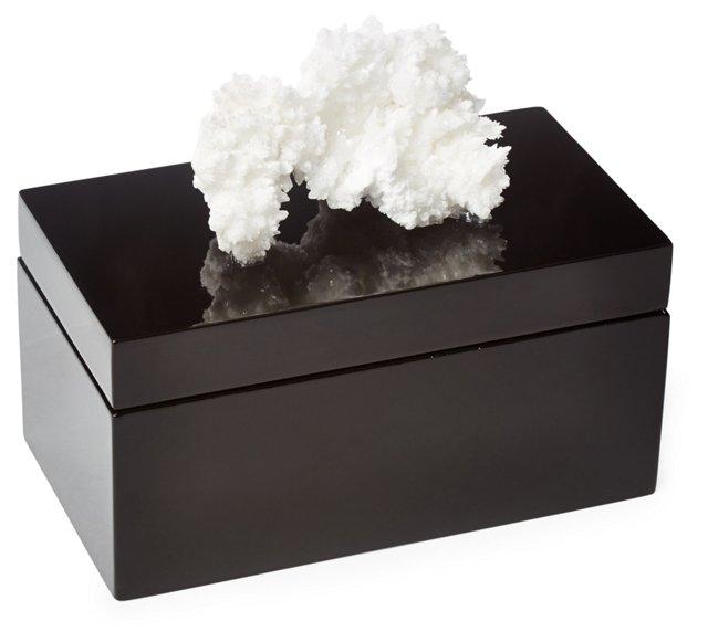 Large Black Lacquer Box w/ Cave Calcite