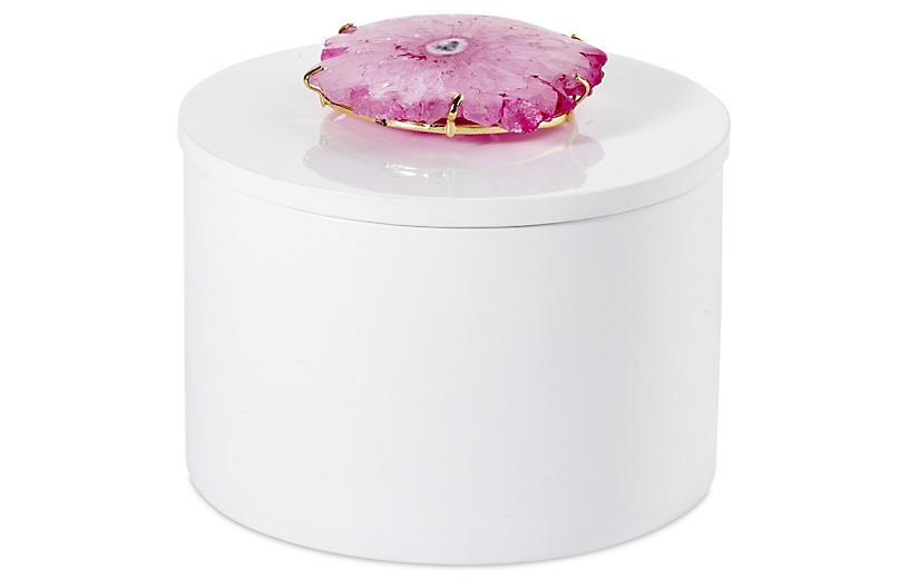 Round White Box w/ Pink Solar Quartz