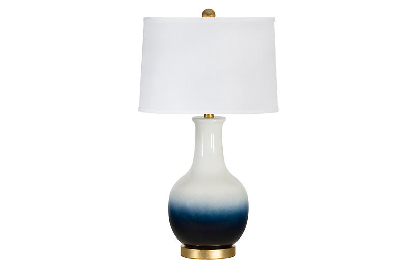 Madison Table Lamp, Navy/White Ombré