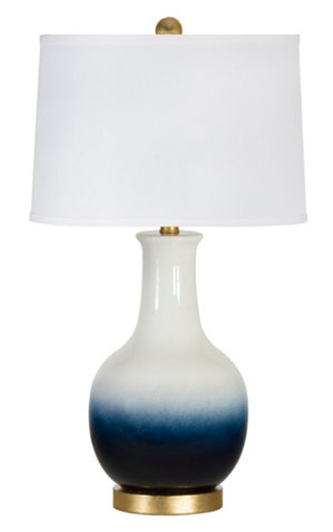 Madison Table Lamp Navy White Ombre