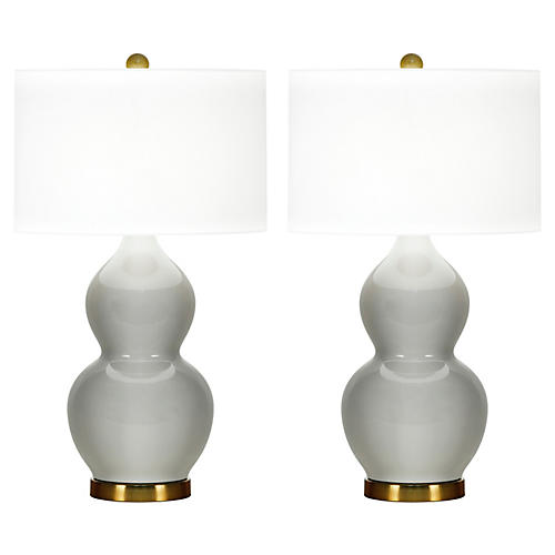 S/2 Ainsley Table Lamps, Light Gray