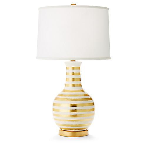 Madison Table Lamp, Gold/White