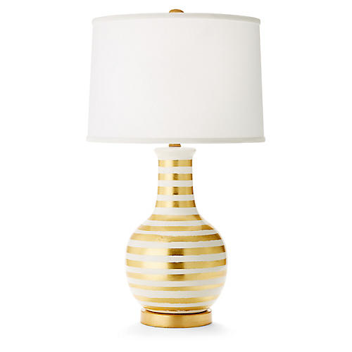 Madison Table Lamp, Gold/White